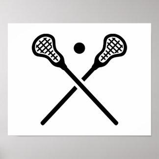 El lacrosse cruzado pega la bola impresiones