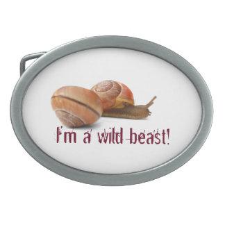 El lado salvaje de un caracol hebillas de cinturón ovales