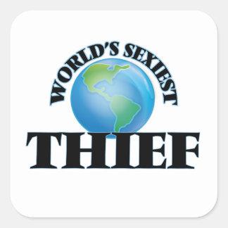 El ladrón más atractivo del mundo pegatinas cuadradases personalizadas