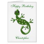 El lagarto del Gecko apenas añade el cumpleaños co Tarjeta