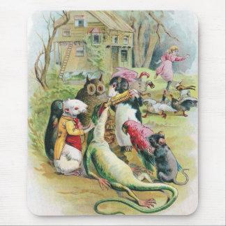 El lagarto enfermo toma su medicina alfombrillas de ratón