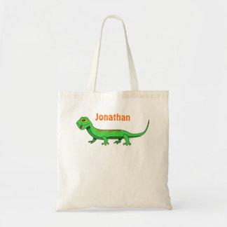 El lagarto verde lindo del dibujo animado embroma  bolsas