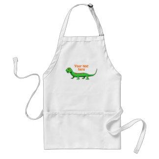 El lagarto verde lindo del dibujo animado embroma delantal