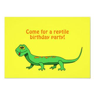 El lagarto verde lindo del dibujo animado embroma comunicado personalizado