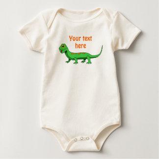 El lagarto verde lindo del dibujo animado embroma mamelucos