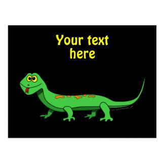 El lagarto verde lindo del dibujo animado embroma postales