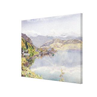 El lago de Alfalfa soporte Pilatus en la distanci Impresión De Lienzo