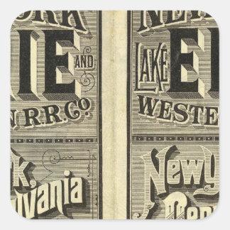 El lago Erie y ferrocarril occidental Colcomanias Cuadradass