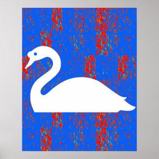 El lago gráfico sea de los gansos del cisne del póster