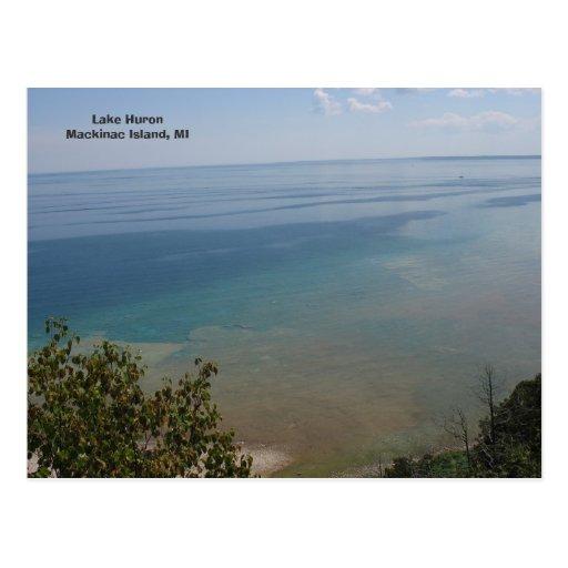 El lago Hurón en la isla de Mackinac, MI Postales