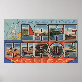 El lago Hurón, Michigan - escenas grandes de la le Impresiones