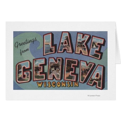 El lago Lemán, Wisconsin - escenas grandes de la l Tarjetas