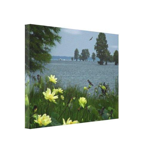El lago lotus con los tragos envolvió la lona impresiones de lienzo
