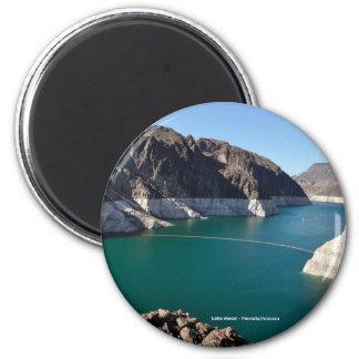 El lago Mead cerca del Preso Hoover Imán Redondo 5 Cm