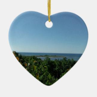 El lago Michigan Adorno Navideño De Cerámica En Forma De Corazón