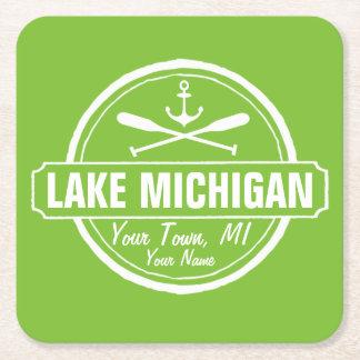 El lago Michigan, ciudad de encargo, nombre, Posavasos De Cartón Cuadrado