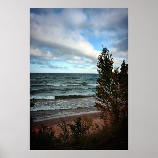 El lago Michigan - St. Ignace, MI Póster