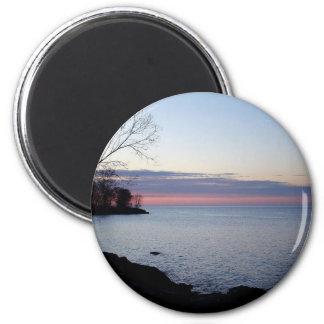 El lago Ontario en la alba Imán Redondo 5 Cm