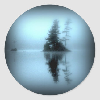 El lago pegatina redonda