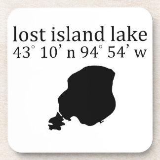 El lago perdido island coordina el práctico de posavasos de bebida