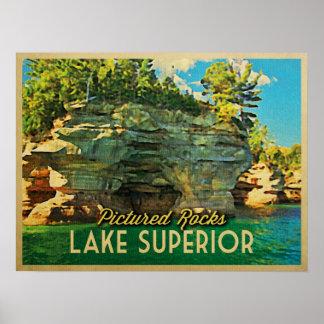 El lago Superior representó rocas Poster