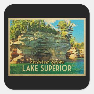 El lago Superior representó rocas Pegatina Cuadrada