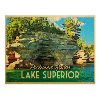 El lago Superior representó rocas Tarjeta Postal