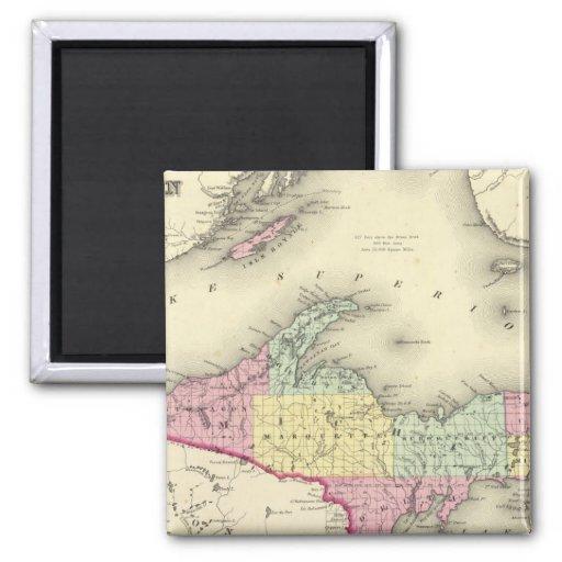 El lago Superior y la parte norteña de Michigan Imán Cuadrado