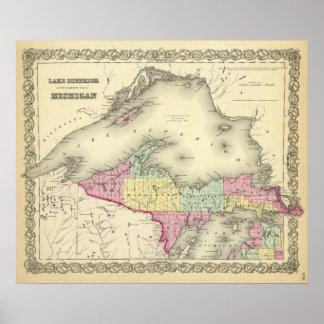El lago Superior y la parte norteña de Michigan Póster