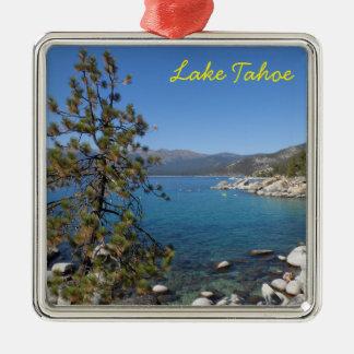 El lago Tahoe Adorno Navideño Cuadrado De Metal