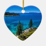 El lago Tahoe Adorno Navideño De Cerámica En Forma De Corazón