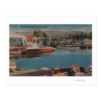 El lago Tahoe, CA - puerto del barco en la joya de Postal
