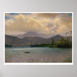 El lago Tahoe, California por Bierstadt (0102a) Póster