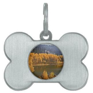 El lago Tahoe en el paisaje de la caída/del invier Placa De Mascota