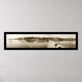 El lago Tahoe, foto 1906 del muelle de CA Póster