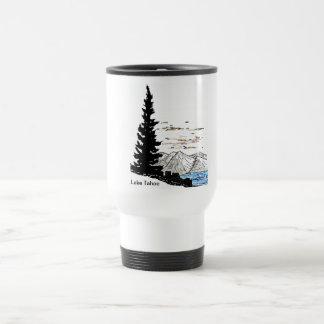 El lago Tahoe (taza de café blanca del viaje)