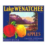 El lago Wenatchee Apple etiqueta (azul) - la cache Impresión En Tela