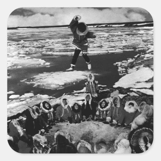 El lanzar combinado esquimal de los E.E.U.U. Alask Calcomanías Cuadradass Personalizadas