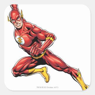 El lanzarse del flash pegatinas cuadradas