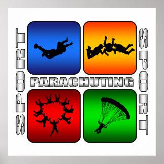 El lanzarse en paracaídas espectacular póster