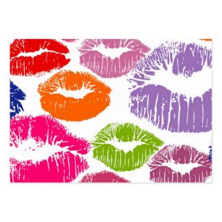 El lápiz labial colorido besa color del labio tarjetas de visita grandes