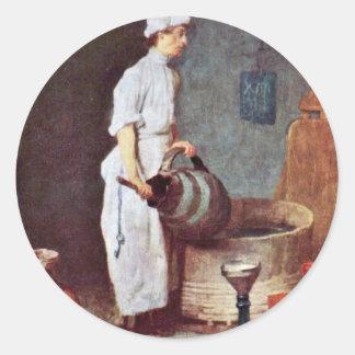 El lavarse encima de individuo en el Pub de Etiquetas Redondas