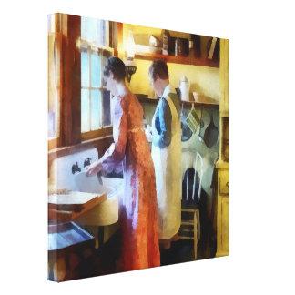 El lavarse para arriba después de cena impresion en lona