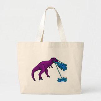 el lazer del t-rex flamea púrpura bolsa