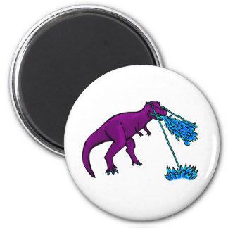 el lazer del t-rex flamea púrpura imanes de nevera