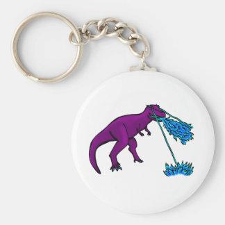el lazer del t-rex flamea púrpura llavero