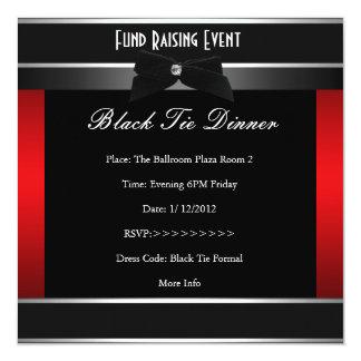 El lazo negro rojo formal corporativo invita invitación 13,3 cm x 13,3cm