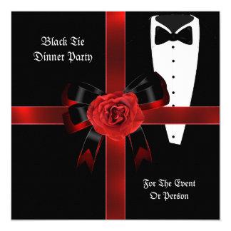 """El lazo negro rojo formal del fiesta de cena invitación 5.25"""" x 5.25"""""""
