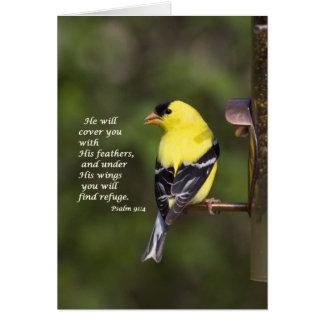 Él le cubrirá con sus plumas tarjeta de felicitación
