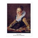 El lector de Jean-Honore Fragonard Tarjeta Postal